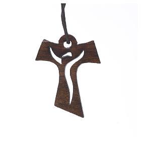 Krzyż Pierwsza Komunia drewno ciemne Zmartwychwstały 3.4x2.4 cm s1