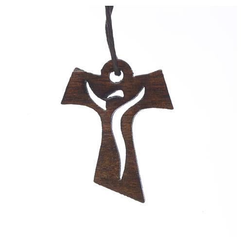 Krzyż Pierwsza Komunia drewno ciemne Zmartwychwstały 3.4x2.4 cm 1