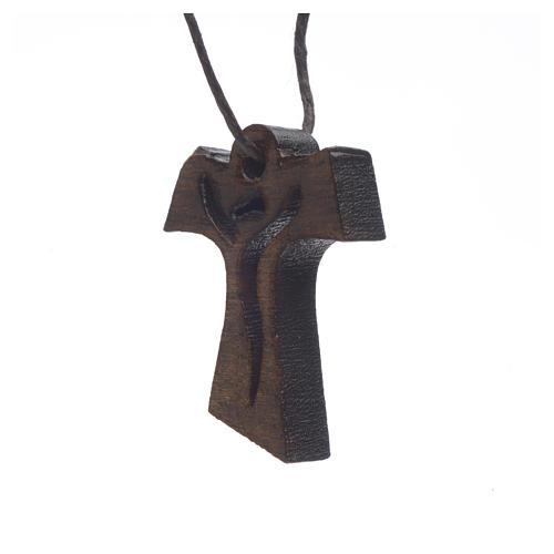 Krzyż Pierwsza Komunia drewno ciemne Zmartwychwstały 3.4x2.4 cm 2