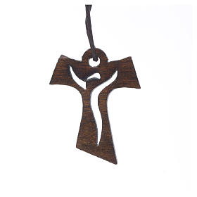 Cross first communion dark carved wood with risen Christ, 3,4x2, s1