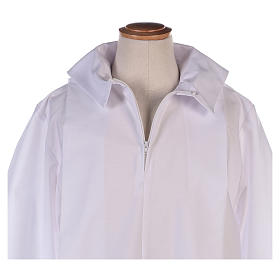 Altar server alb in white polyester and cotton fabric s3