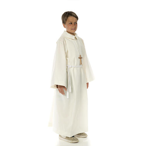 Altar server alb in white polyester and cotton fabric 3
