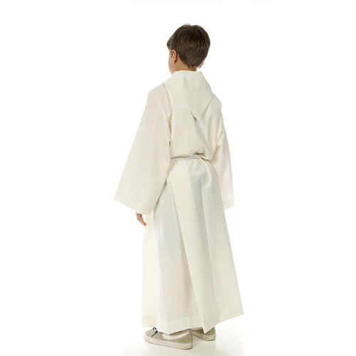 Altar server alb in white polyester and cotton fabric 4