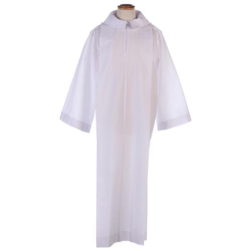 Altar server alb in white polyester and cotton fabric 1