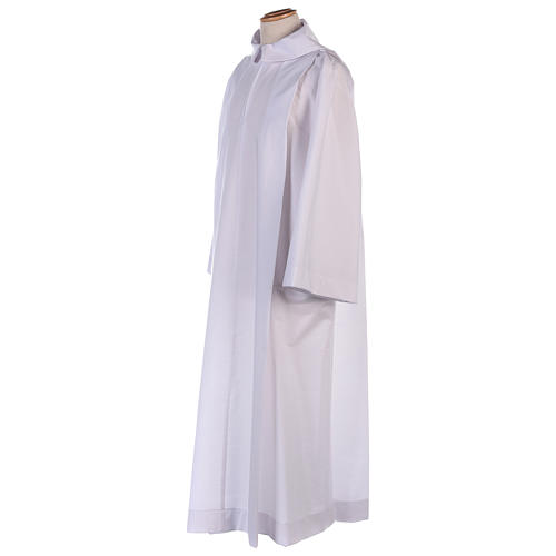 Altar server alb in white polyester and cotton fabric 2