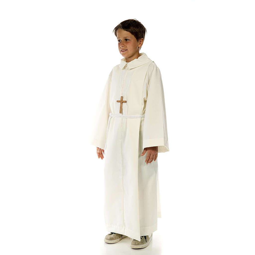 Altar server child alb in white polyester and cotton fabric 4