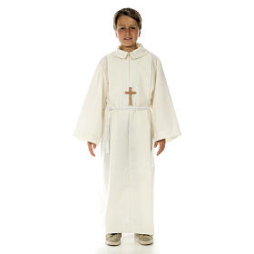 Altar server child alb in white polyester and cotton fabric s1
