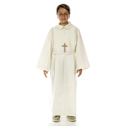 Altar server child alb in white polyester and cotton fabric 1