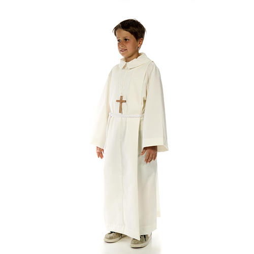 Altar server child alb in white polyester and cotton fabric 2