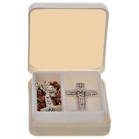 Chapelet marron et croix de Pape François s1