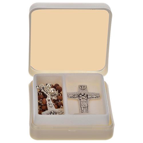 Chapelet marron et croix de Pape François 1