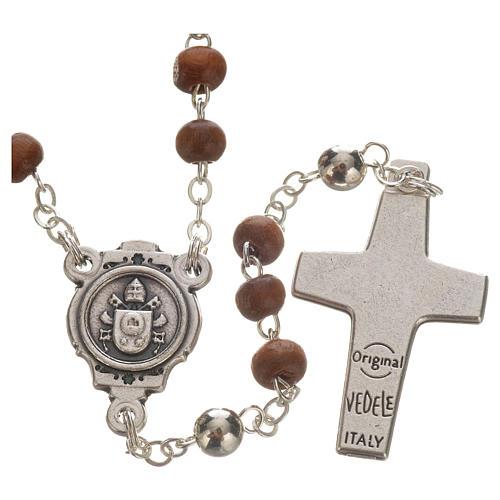 Chapelet marron et croix de Pape François 3