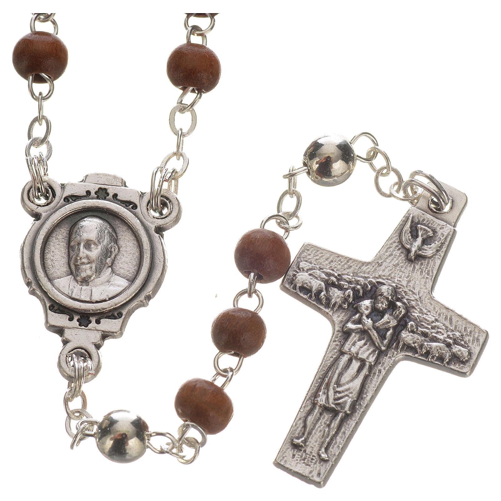 Różaniec brązowy i krzyż Papieża Franciszka 4