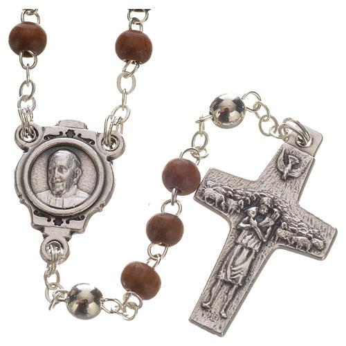 Różaniec brązowy i krzyż Papieża Franciszka 2