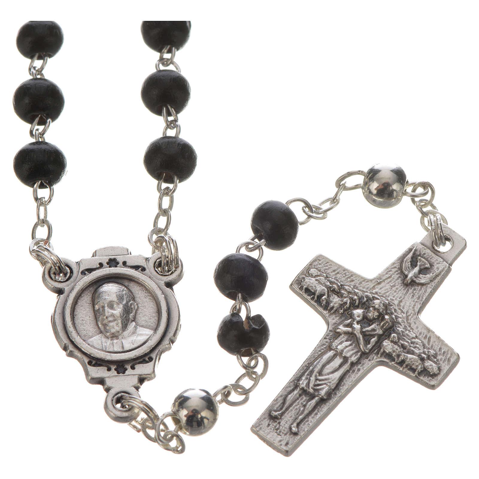 Chapelet noir et croix Pape François 4