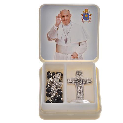 Chapelet noir et croix Pape François 1
