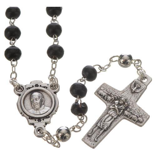 Chapelet noir et croix Pape François 2