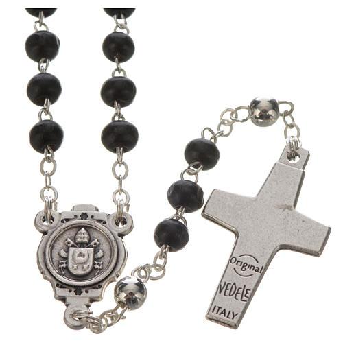 Chapelet noir et croix Pape François 3