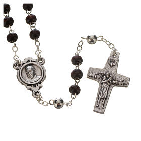 Rosenkranz und Kreuz Papst Franziskus Mahagoni s2