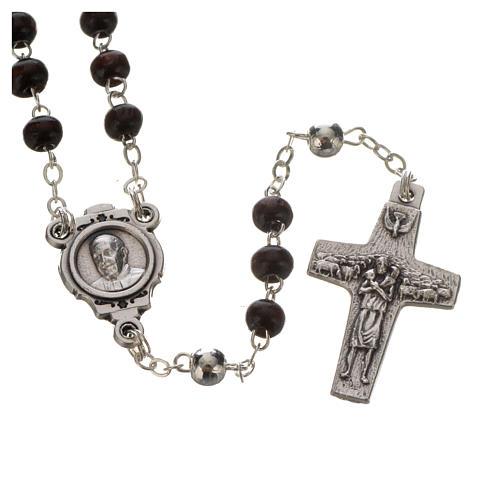 Rosenkranz und Kreuz Papst Franziskus Mahagoni 2