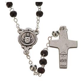 Chapelet acajou et croix Pape François s3