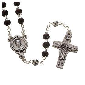 Różaniec mahoniowy i krzyż Papieża Franciszka s2