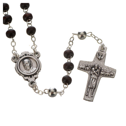 Pope Francis mahogany rosary and cross 2