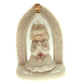 Bambina in ceramica Prima Comunione 11 cm s1