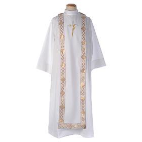 Aubes communion, profession de foi: Aube Première Communion blanche scapulaire cordon broderie croix