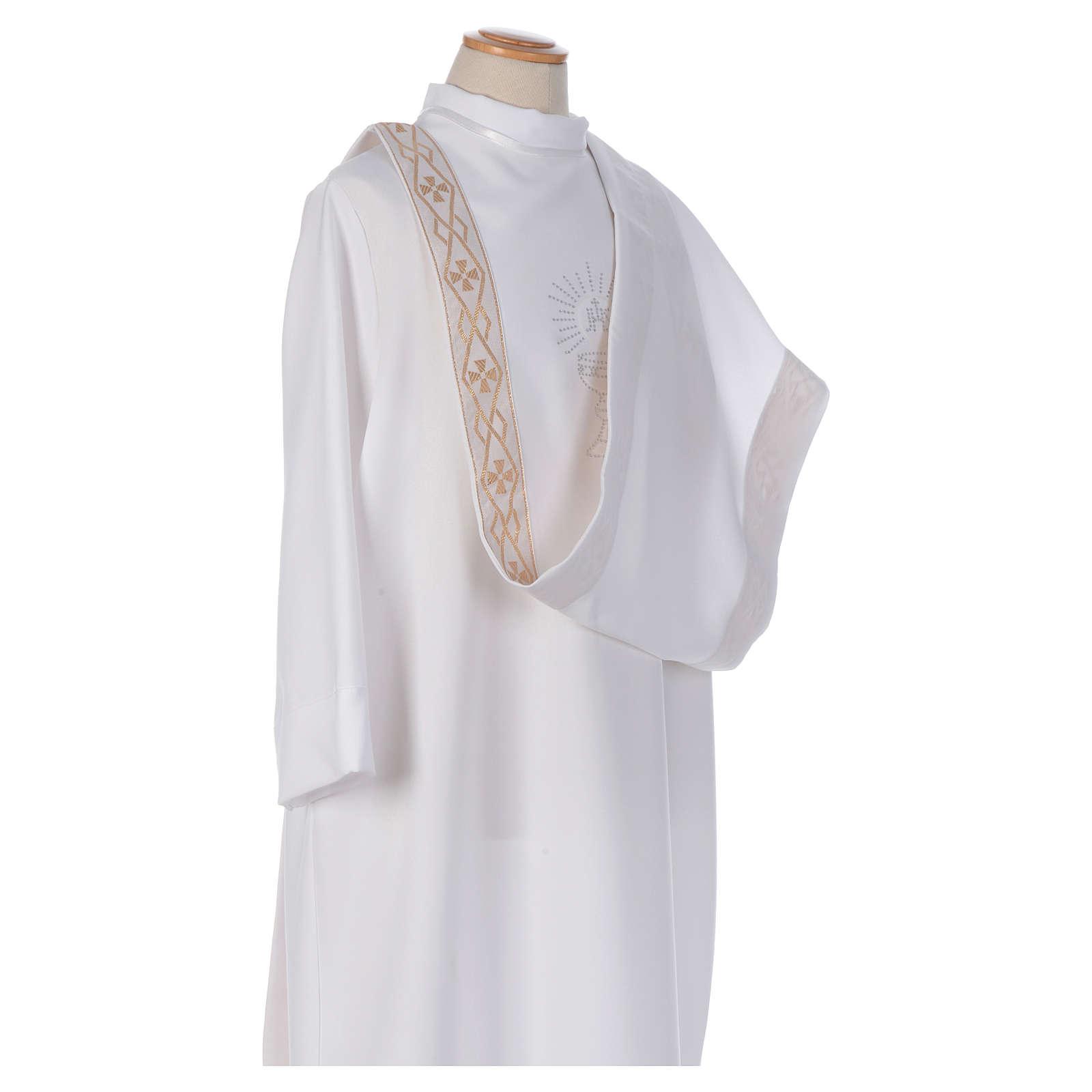 Aube Première Communion blanc scapulaire passementerie strass 4