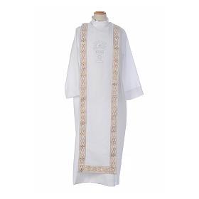 Aubes communion, profession de foi: Aube Première Communion blanc scapulaire passementerie strass