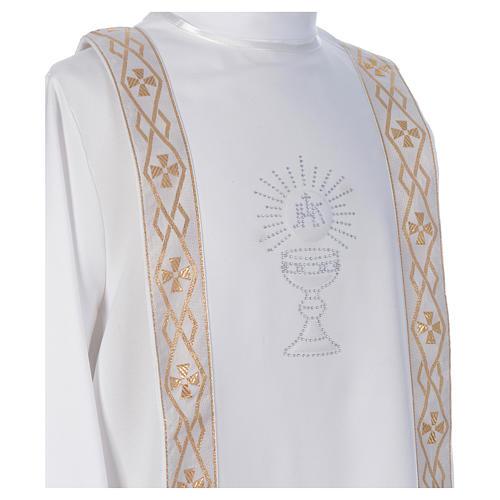 Aube Première Communion blanc scapulaire passementerie strass 3