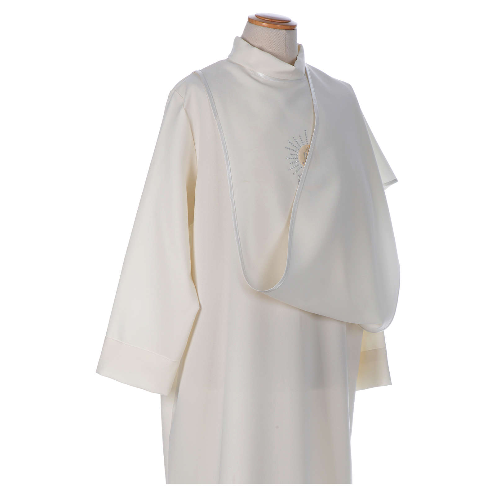 First Communion alb with satin sidelong and rhinestone, ivory 4