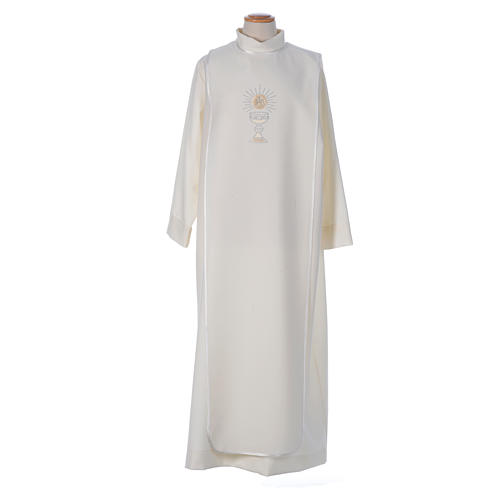 First Communion alb with satin sidelong and rhinestone, ivory 1