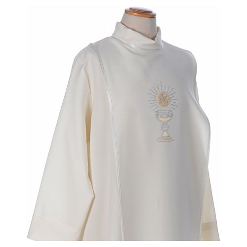 First Communion alb with satin sidelong and rhinestone, ivory 3