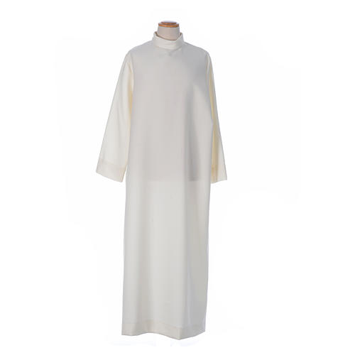 First Communion alb with satin sidelong and rhinestone, ivory 5