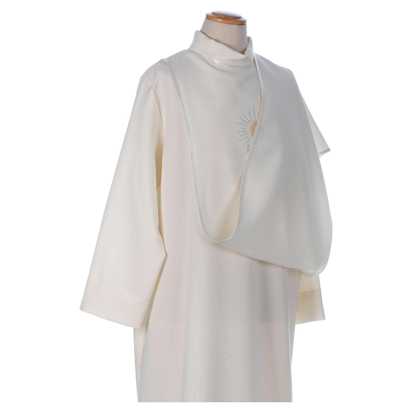 Aube Première Communion ivoire scapulaire biais en satin et strass 4