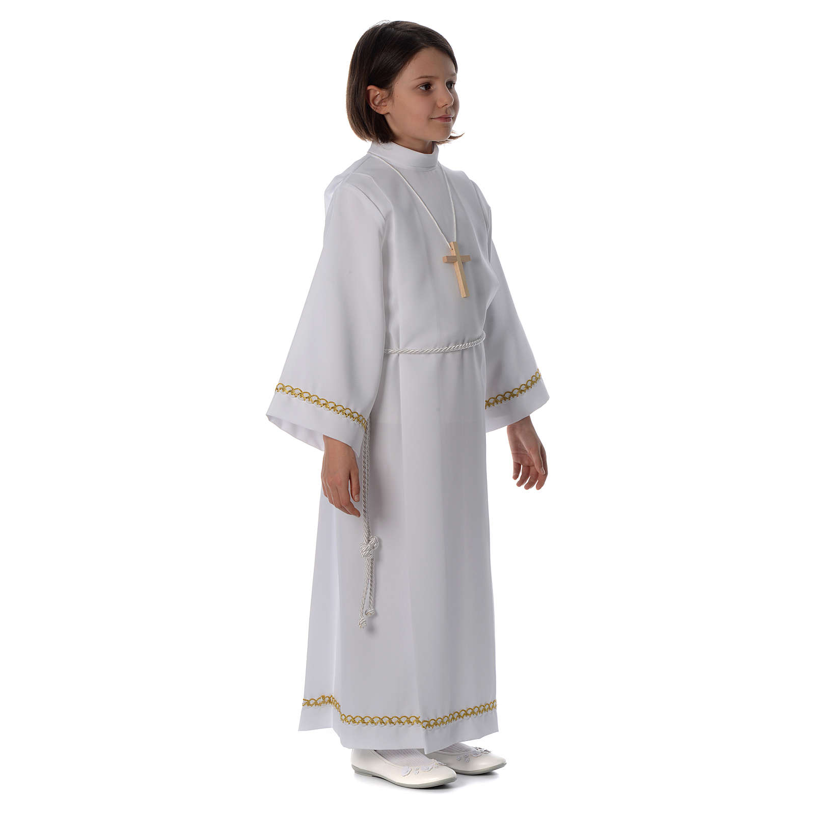 First Communion alb with pleats and braided border on hem and sleeves 4