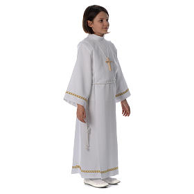 First Communion alb with pleats and braided border on hem and sleeves s3