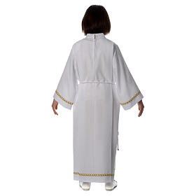 First Communion alb with pleats and braided border on hem and sleeves s4