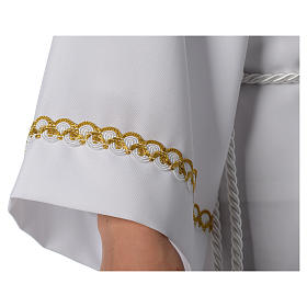 First Communion alb with pleats and braided border on hem and sleeves s5