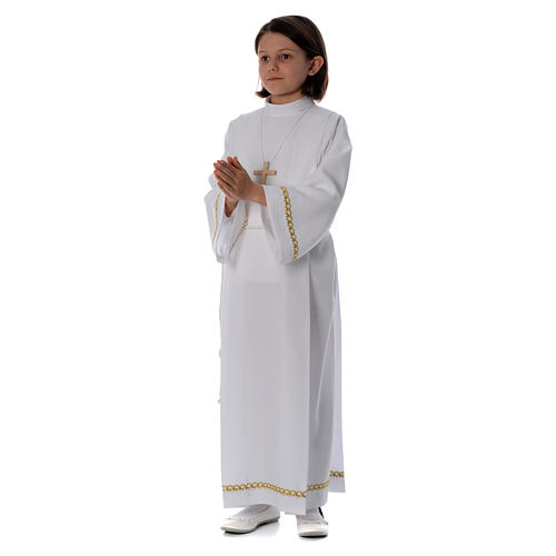 First Communion alb with pleats and braided border on hem and sleeves 2