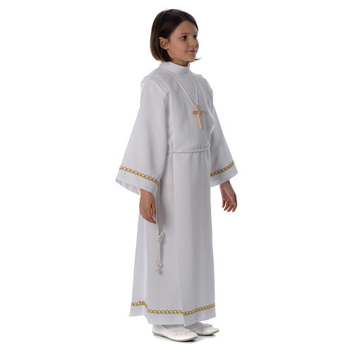 First Communion alb with pleats and braided border on hem and sleeves 3