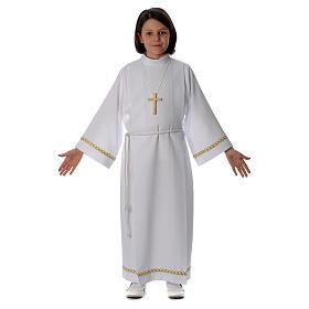 Aubes communion, profession de foi: Aube Première Communion plis et passementerie or bord et manches