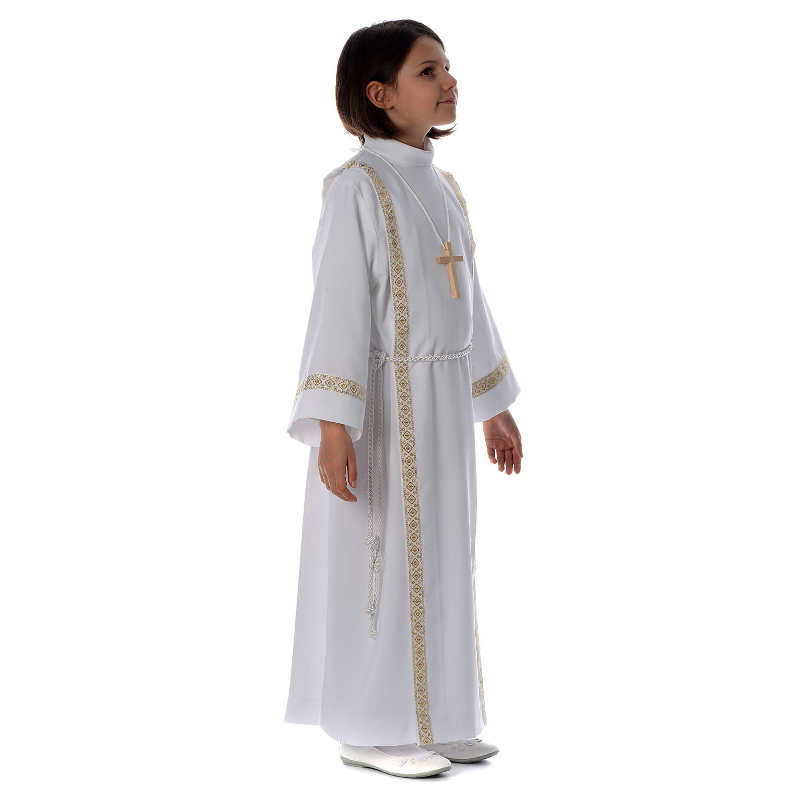 First Communion alb with pleats on back and front and braided border 4