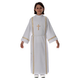 First Communion alb with pleats on back and front and braided border s1