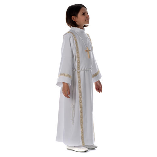 First Communion alb with pleats on back and front and braided border 3