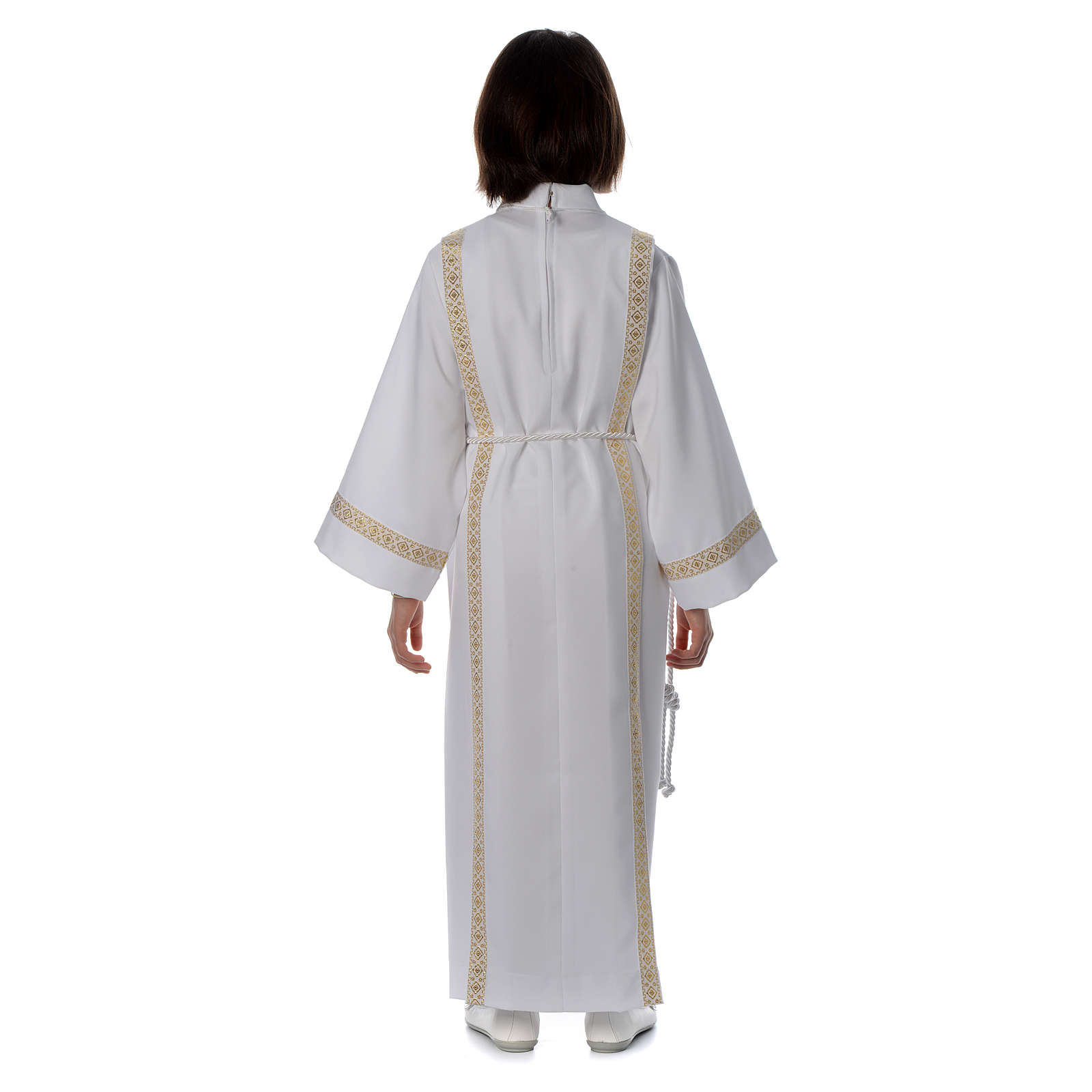 Holy Communion alb with pleats on back and front and braided border 4