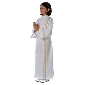 Holy Communion alb with pleats on back and front and braided border s2