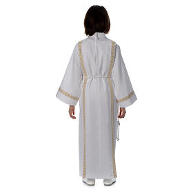 Holy Communion alb with pleats on back and front and braided border s4